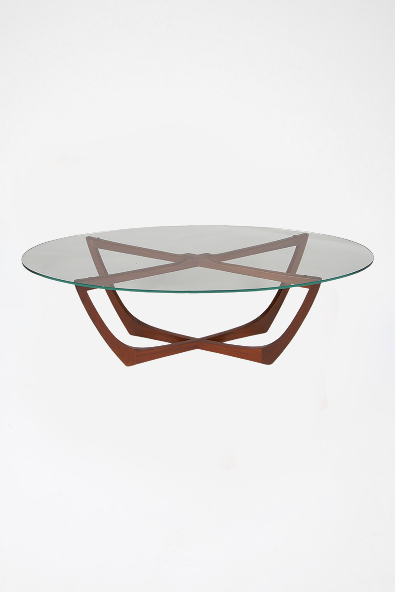 Teak Glass Top Oval Cradle Coffee Table - The Classic ...